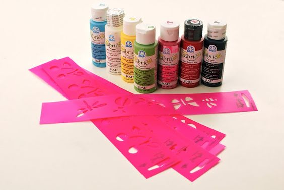 Fabric Paint and stencils.