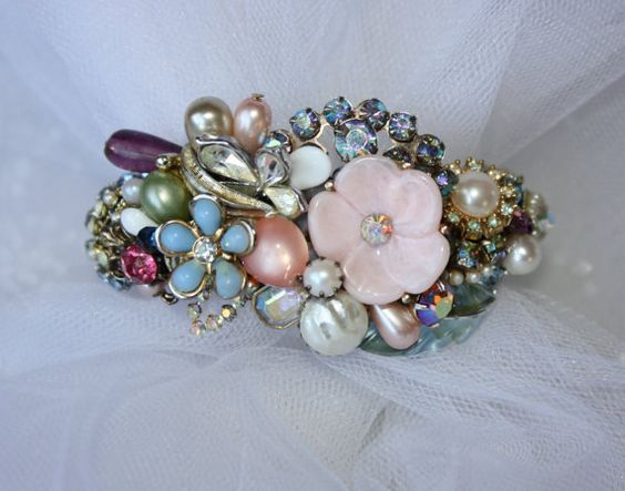 Stunning Vintage Floral Bridal Bracelet with re-purposed enamel flowers & rhinestones. Love the colors against my ivory gown!