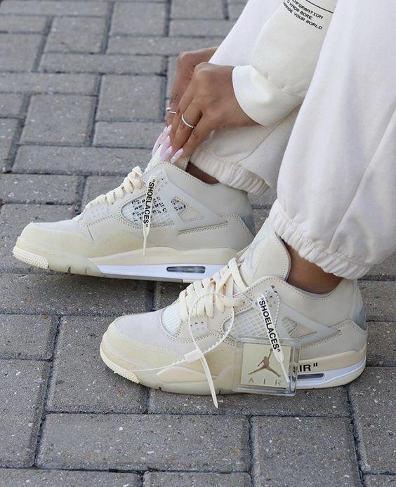 Jordan 4 Retro Off White Sail W In 2021 Jordan Shoes Girls All Nike Shoes Hype Shoes