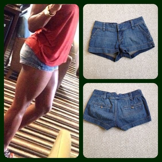 GUESS - denim shorts NWOT Size 26, waist 15' lying flat, length 9' total, rise 2'. Too much junk in my trunk for these... My daughter really wants them, price is firm. Guess Jeans