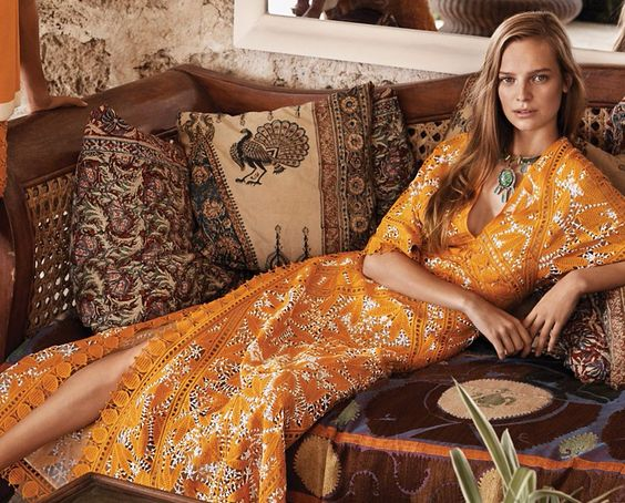 Long Lace Marigold Caftan
