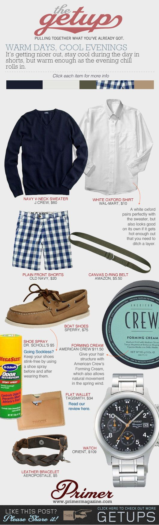 The Getup: Warm Days, Cool Evenings | Primer (cute chequered shorts and weaved bracelet)