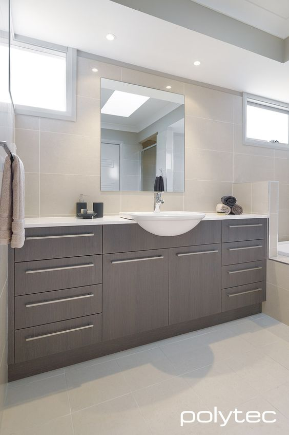 Custom Bathroom Vanities Penrith this bathroom but light grey tiles, white shimmer stone and