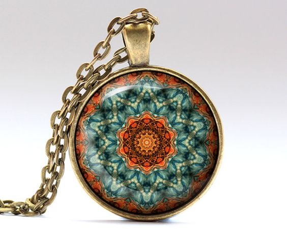 Unique Hippie jewelry. Amazing Esoteric pendant with a chain or a leather cord. Gorgeous Mandala necklace in bronze or silver finish. SIZE: 25 mm (1