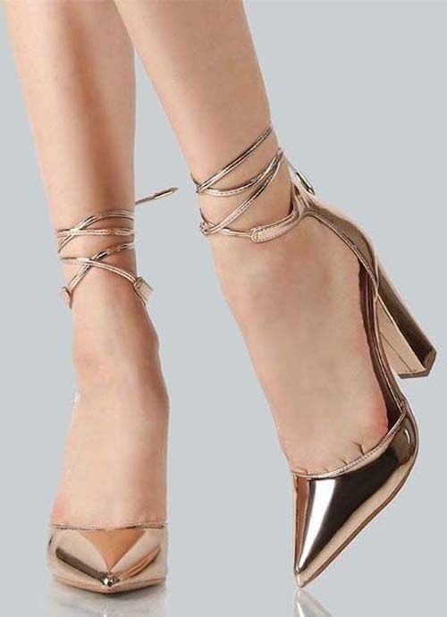 Golden High Heels Fashion shoes for