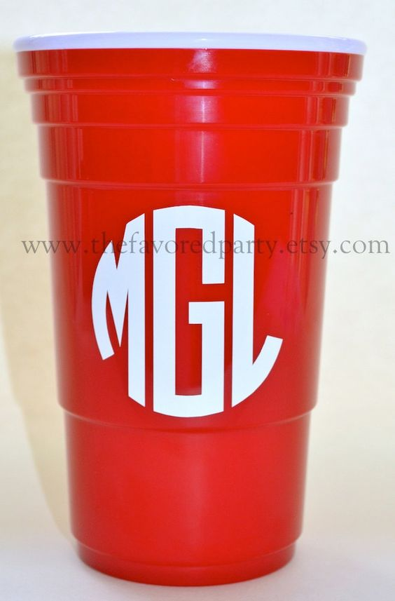 Monogrammed / Personalized  32 oz. Reusable Red by TheFavoredParty, $12.00