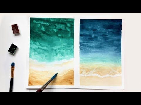 Watercolor Beach Tutorial For Beginners Easy Watercolor Ideas