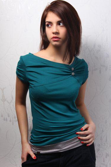 Jersey Shirt - türkis - Knöpfe - Streifen