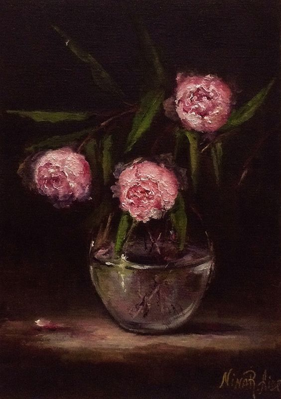 Oil Painting Pink Peonies by Nina R.Aide Fine Art Small Painting Floral Chiaroscuro Original Art Small Painting by NinaRAideStudio on Etsy