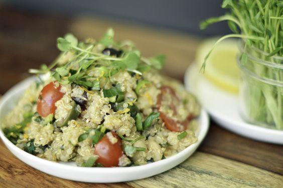 Mediterranean cold quinoa salad
