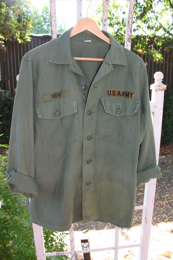 Army Button Down Shirt Jacket Soft and Slightly Distressed with Patches by…