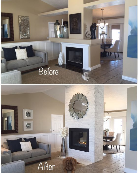 Fireplace remodel - see through fireplace - artic white ledgestone ...