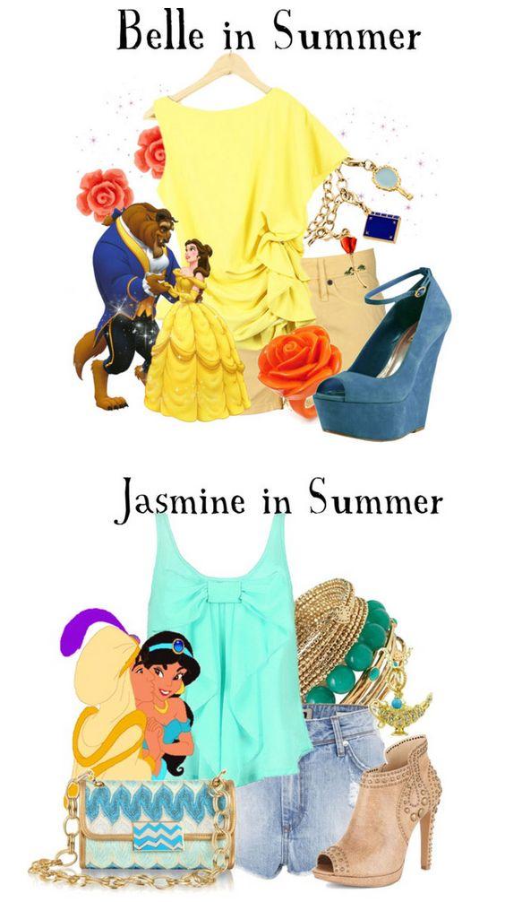 Looks modernos de verão inspirados em princesas da Disney | via Hypeness.