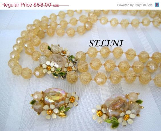 Buy Vintage Selini Signed  Multistrand Yellow Bead Flower Necklace by vintagobsessions. Explore more products on http://vintagobsessions.etsy.com