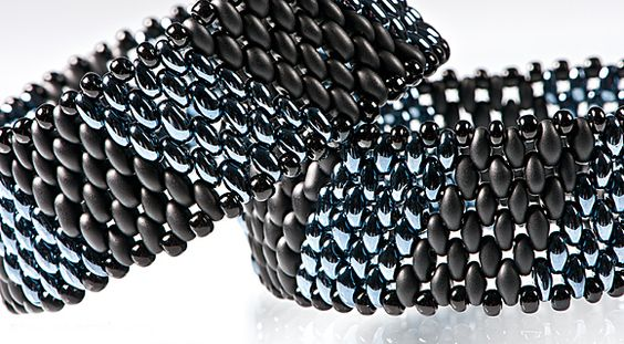 """Multi-rowed, wide bracelet project using PRECIOSA Twin™. click on the """"files & links"""" for a PDF of this project. #seed #bead #tutorial"""