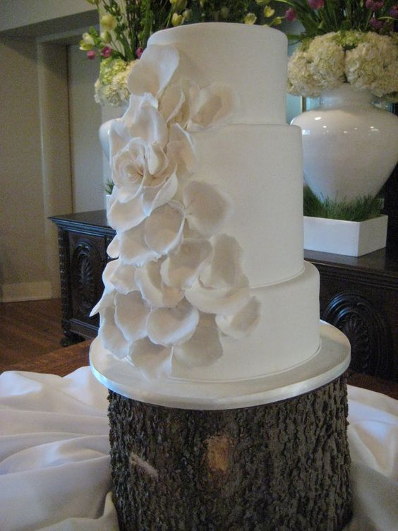 White sculpted petal cake on tree stump