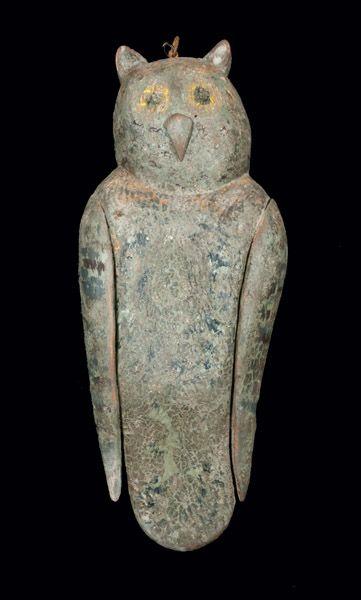 Folk Art Carved Owl Decoy, American, first half 20th century: