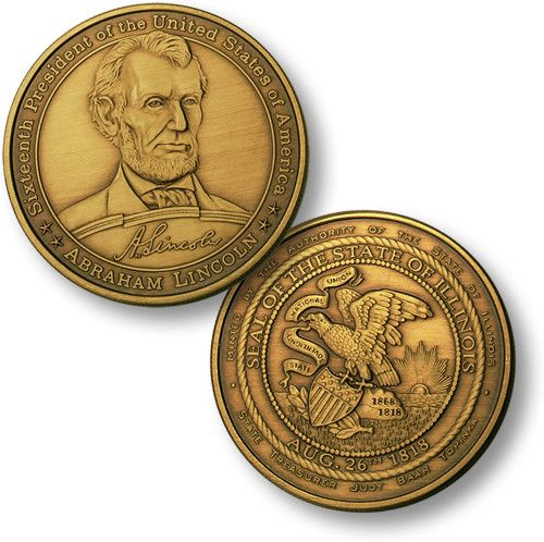 Abraham Lincoln - Illinois Seal Bronze Antique 1 1/2 inch (39mm)