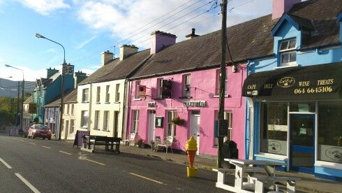 Colorful houses line the street in Sneem,  Ring of Kerry