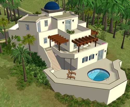 Sims house spring4sims athen lot by sims 2 houses for Minimalist house sims 2