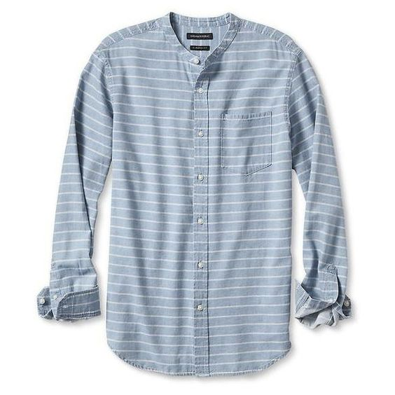 Banana Republic Mens Camden Fit Collarless Stripe Shirt ($70) ❤ liked on Polyvore featuring men's fashion, men's clothing, men's shirts, washed indigo, mens collared shirts, men's apparel, mens collarless button up shirt, mens stripe shirts and mens button down collar shirts
