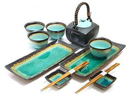 Mysushiset 11 Piece Ocean Breeze Sushi And Tea Set Review Japanese Tea Set Tea Set Sushi Set