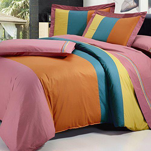 Serenta Multi Color Cotton Duvet Cover 7 Piece Sheet Set Queen Brick Gold Blue Orange Best Quilted Comforter Duvet Cover Sets Duvet Sets Orange Duvet Covers