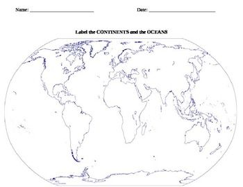 Continents And Oceans Lesson Plans For Durham Class Pinterest - World map continents and oceans black and white
