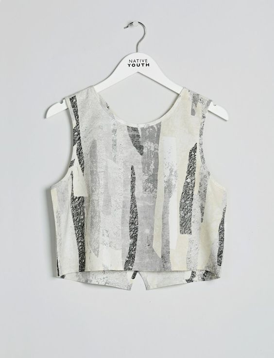 Native Youth Rockslide crop top in abstract print. Sleeveless top with a cross back detail. Match with Rockslide print cullotes.