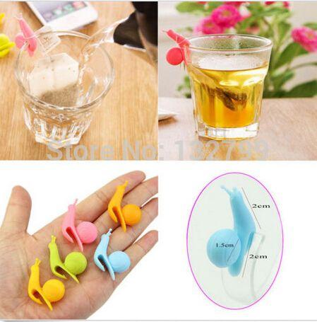10 unids caracol lindo en forma de silicona té soporte de la bolsa de la taza de té infusores colador Clips Party Decor()