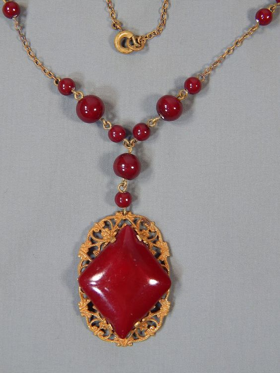 Vintage Signed Czech Faux Ox Blood Coral Glass Bead Filigree Lavalier Necklace