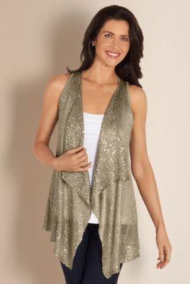 Sparkle Vest - Sequin Sweater Vest, Lightweight, Sweaters & Cardigans | Soft Surroundings
