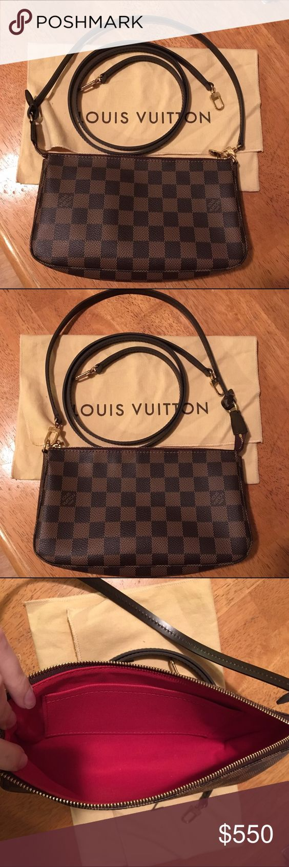 Louis Vuitton Pochette Accessories NM with Strap Damier Ebene Pochette Accessories NM & Longer Ebene Strap (non-adjustable)  Bag is in good preowned condition. Date code CA0133 Made in Spain. Extra strap also in good shape.  I've had both bag and strap authenticated on the Purse Forum, they were purchased separately so the hardware colors aren't an exact match to each other but both are authentic. The pochette comes with a dust bag. No box or receipt.  Price is firm. I don't want to separate…
