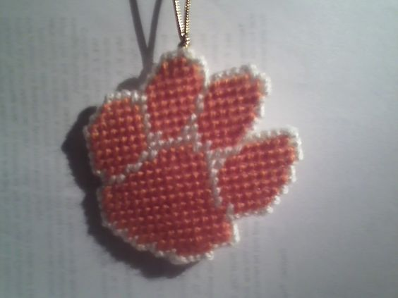 Clemson Tiger Paw plastic canvas ornament