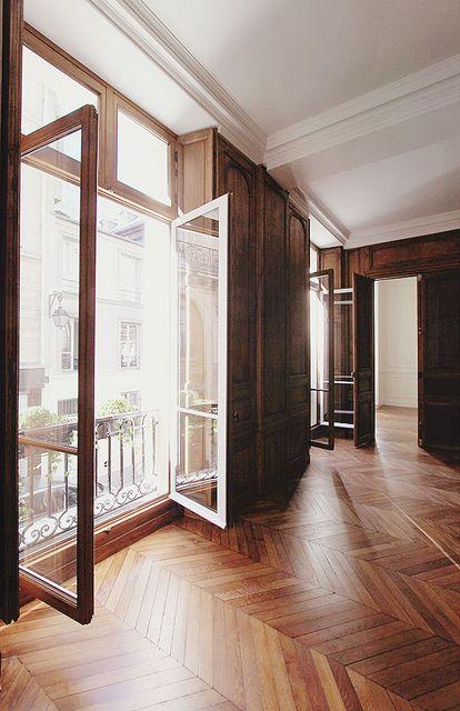 Beautfiul Chevron Flooring: Floors Windows, Wood Floors, Chevron Floor, Herringbone Floors, Open Window