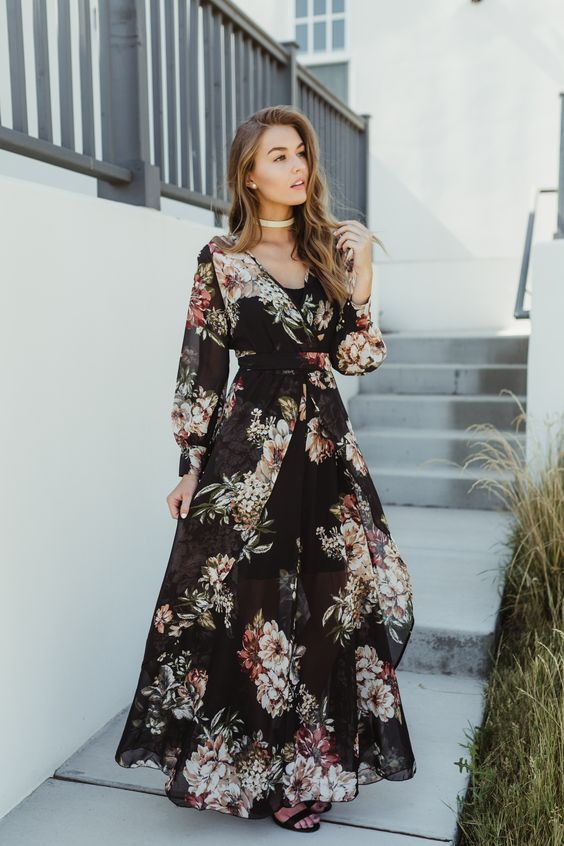 We are in love with this dress here at Bohme! Take a walk on the wild side and look beautiful doing it! This maxi dress features a black chiffon fabricated bodice, floral design, v-neckline, long sleeves, a butterfly cut front, attached waist tie and triple cuff sleeve buttons.