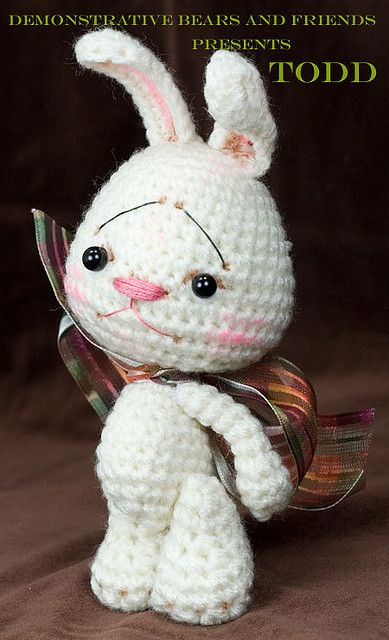 Crochet Doll Scarf Pattern Free : ~Todd~ a White Anime Bunny rabbit Jointed amigurumi by ...