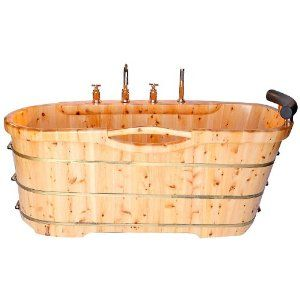 ALFI brand AB1136 61-Inch  Free Standing Cedar Wood Bath Tub with Chrome Tub Filler