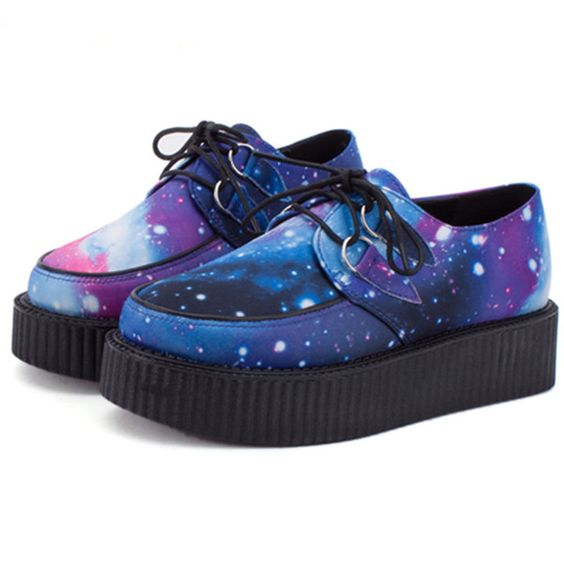 GALAXY CREEPERS ($60) ❤ liked on Polyvore featuring shoes, leather footwear, real leather shoes, creeper shoes, cosmic shoes and genuine leather shoes