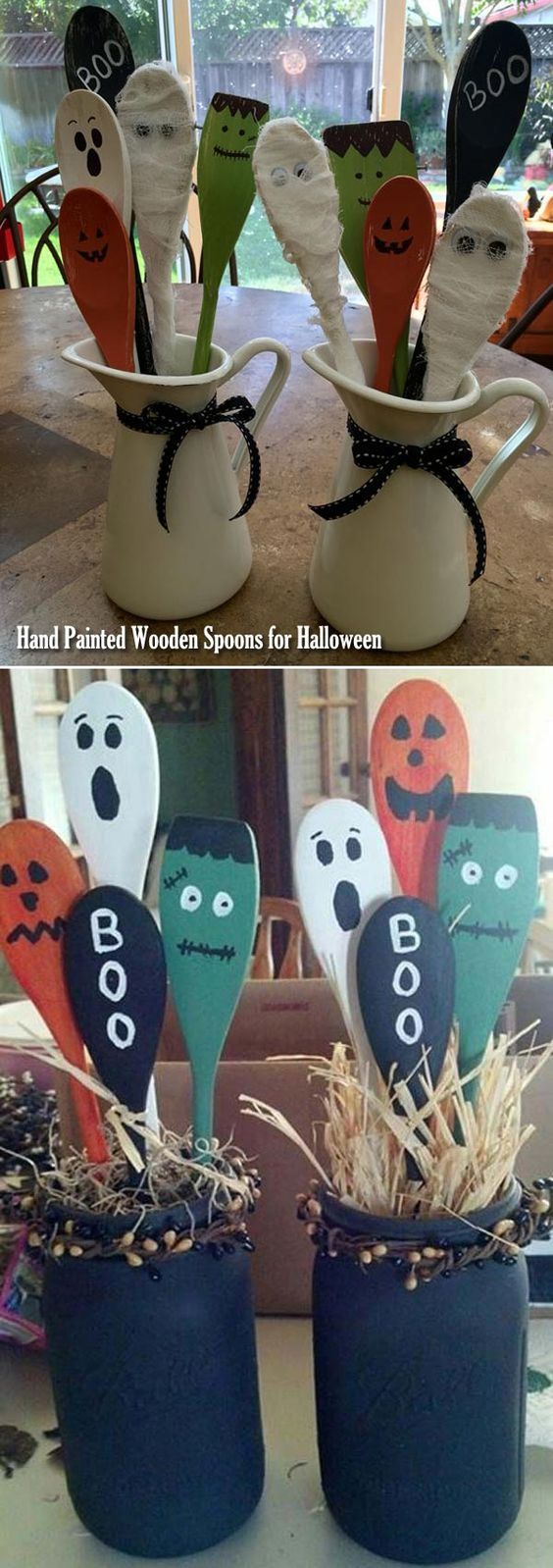 Hand painted wooden spoons in mason jars can be the decoration of Halloween kitchen countertop.