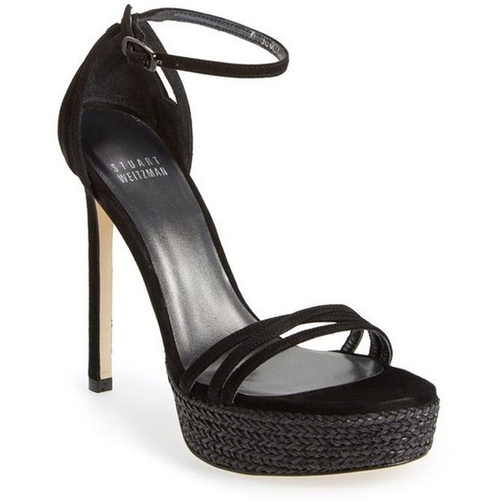 Women's Stuart Weitzman 'Whichway' Suede Platform Sandal (47465 RSD) ❤ liked on Polyvore featuring shoes, sandals, black suede, ankle strap sandals, black suede sandals, black braided sandals, stuart weitzman sandals and ankle wrap sandals