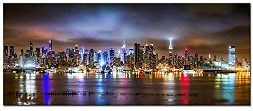 Amazon Com Sea Charm New York City Canvas Wall Art Manhattan Skyline Panorama On Cloudy Night Picture Giclee Art Cities Canvas Cloudy Nights Night Pictures