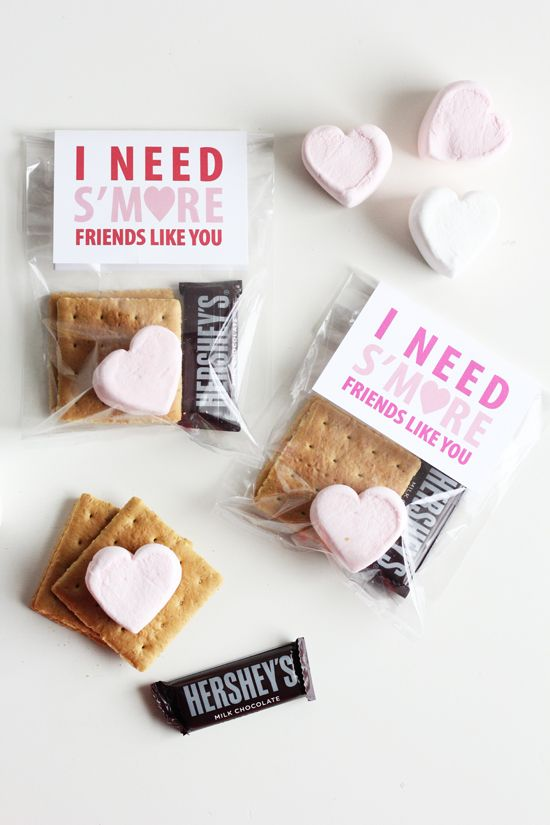 "Sweet Little Peanut | ""I Need S'more Friends Like You!"" Darling homemade kids Valentine idea with Free download printable to make your own!:"