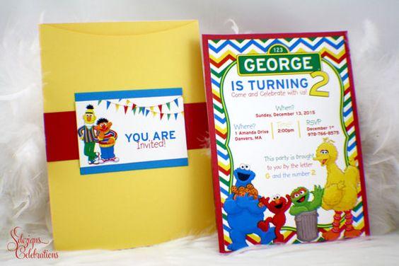 Sesame Street Birthday Invitation | Big Bird | Elmo | Cookie Monster | Oscar | Ernie | Burt | Chevron pattern | Fun | Cute | Party