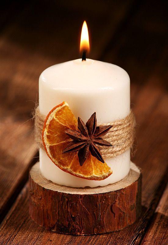 Duftende Winterkerze Auf Fichtenholz Kerzen Rustikal Duftend