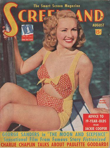 The August 1942 Screenland with Betty Grable on the cover
