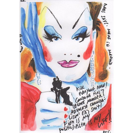 robertamarrero:  Babs says (29,7x21cm). Original illustration for sale. Watercolor pencils and ink on paper. Ilustración original a la venta, lápices de acuarela y tinta sobre papel. More info robertamarrero@yahoo.es #divine #johnwaters #pinkflamingos #drawing #illustration #glennmilstead #robertamarrero