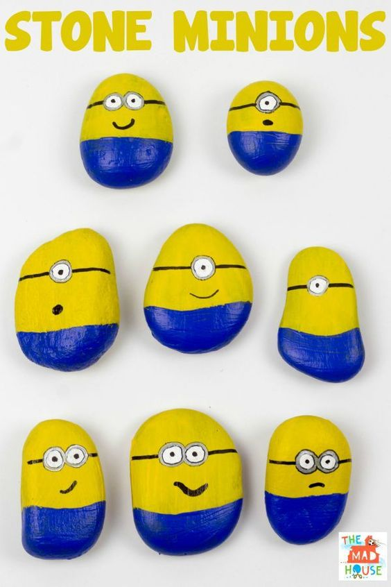 Stone Minions. Join in with the Minion Madness by making these Minions from stones or rocks with your children. This is a super simple kids craft activity.: