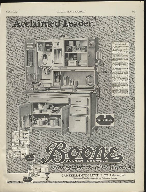 Acclaimed leader! Boone Kitchen Cabinets ad 1923 Mary & Helen ...