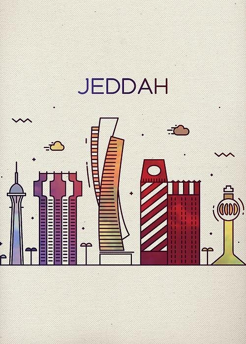 Jeddah Saudi Arabia Whimsical City Skyline Fun Bright Tall Series By Design Turnpike Jeddah National Day Saudi Jeddah Saudi Arabia